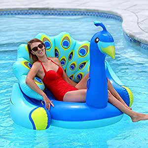 Swimline Giant Peacock Premium Bird Lounger for Swimming Pools Pool Float