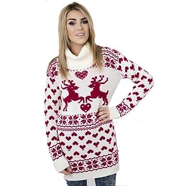 30f9219edaa2 Girl Talk Ladies Fairisle Knitted Roll Neck Christmas Reindeer Jumper Dress  Cream/Red: Amazon.co.uk: Clothing