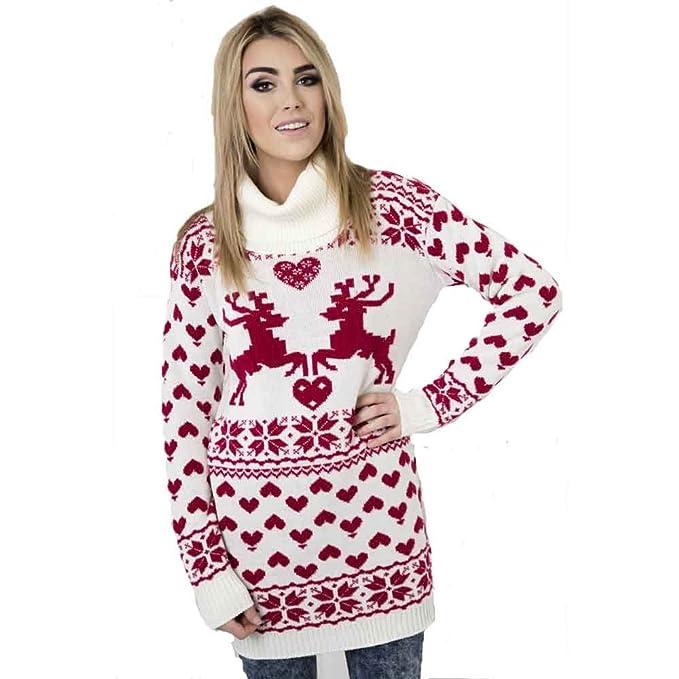 New Women/'s Festive Fair Isle Reindeer//Snowflake Christmas Xmas Jumper Top