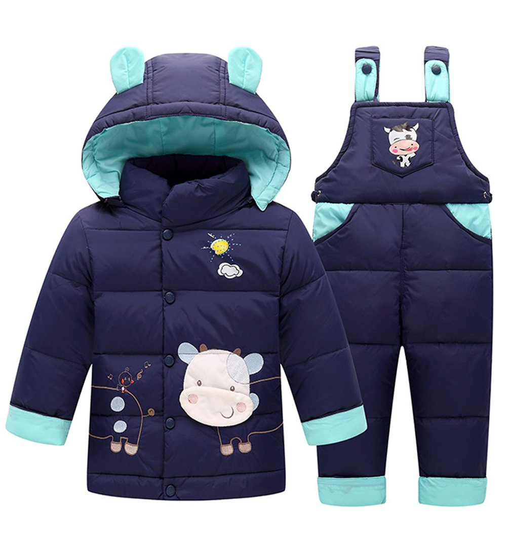 Baby Boys' Girls' Ultralight Cow Pattern Snowsuit Winter Puffer Jacket Two-piece Set (80cm, Dark Blue)