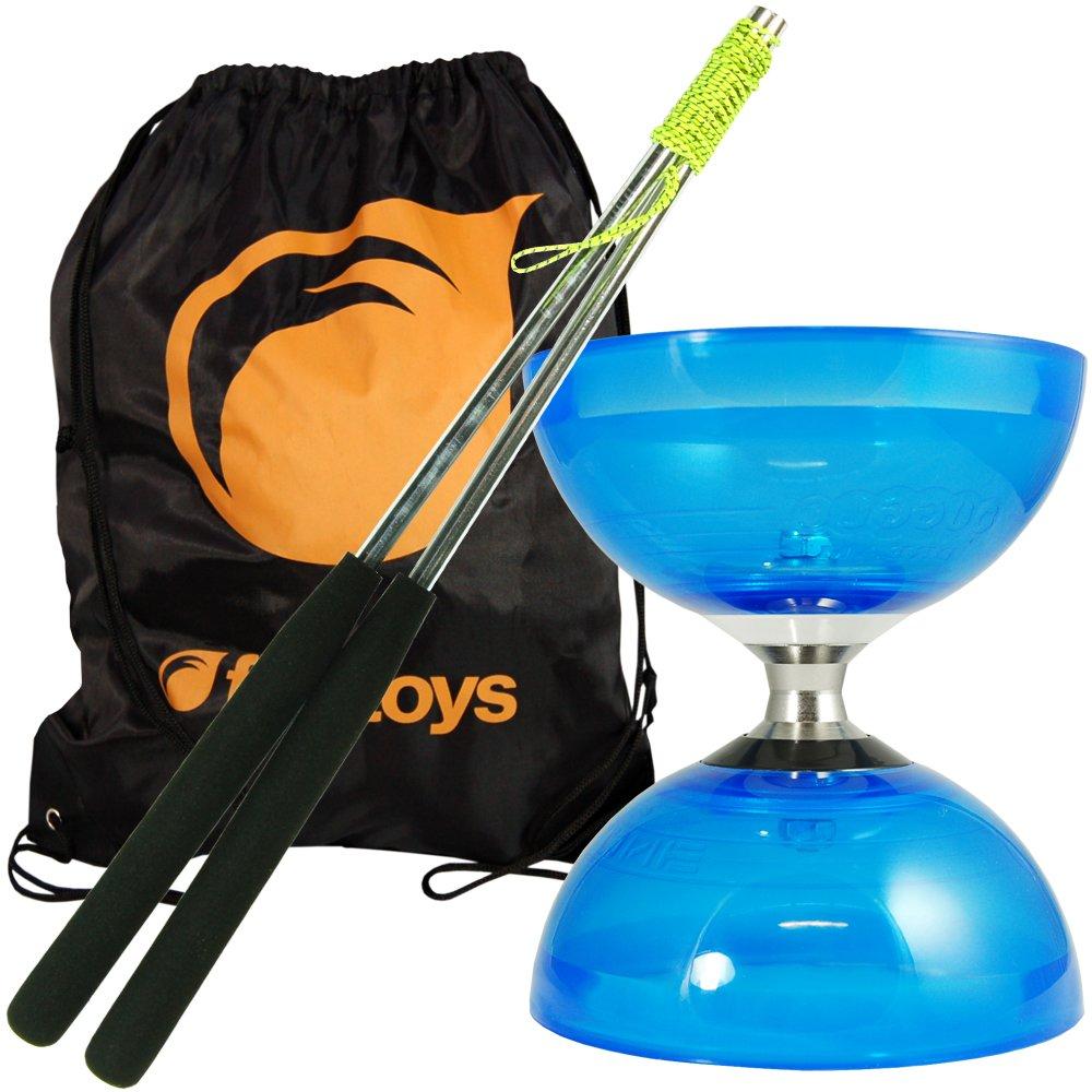 Cyclone Quartz Diabolo (Blue) - Triple Bearing Clutch Diablo - Juggle Dream Metal Hand Sticks & Firetoys Bag