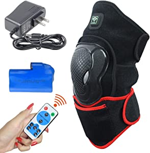 CREATRILL Heated Knee Brace Wrap Support with Remote Control w/Rechargeable 7.4V 2600mah Battery, Far Infrared Heating Pad and Moist Heat for Knee Pain Relief, Stiff, Injury, Cramps, Arthritis
