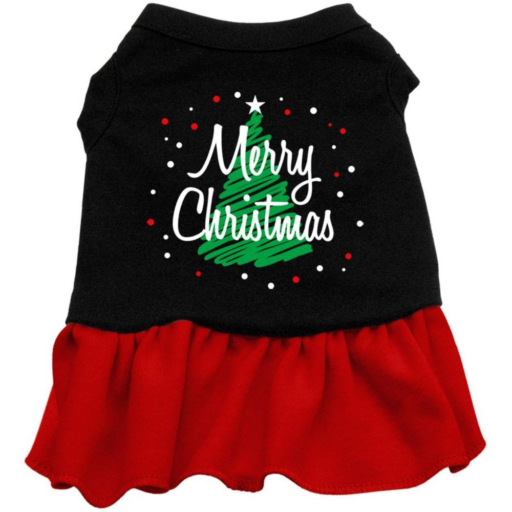 Dog   Cat   Pet Charms Scribble Merry Christmas Screen Print Dress Black with Red XS (8)