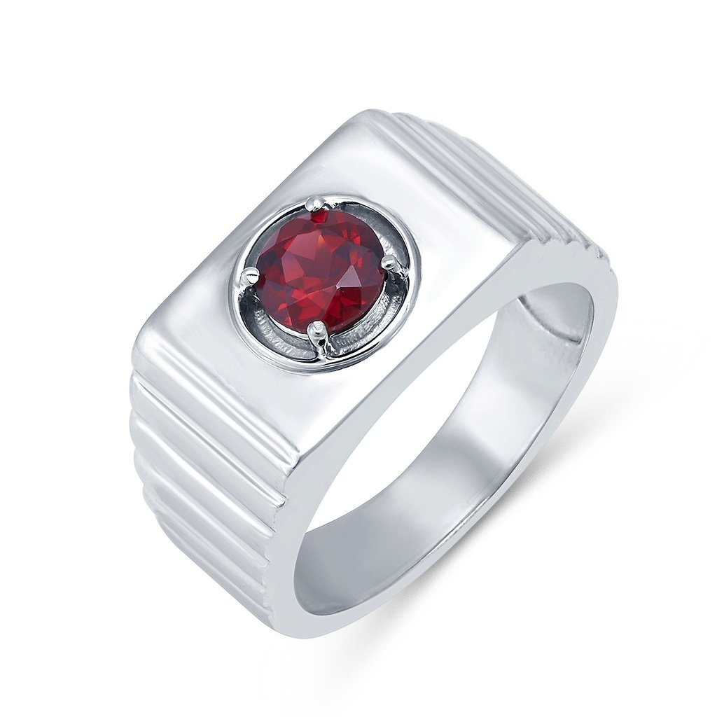 Sterling Silver 1.07ct Garnet Solitaire Mens Ring