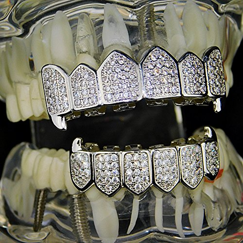 Premium Fang Grillz Set CZ Cubic Zirconia Bling Silver Tone Top & Bottom Teeth Vampire Hip Hop Grills by Bling Cartel (Image #4)