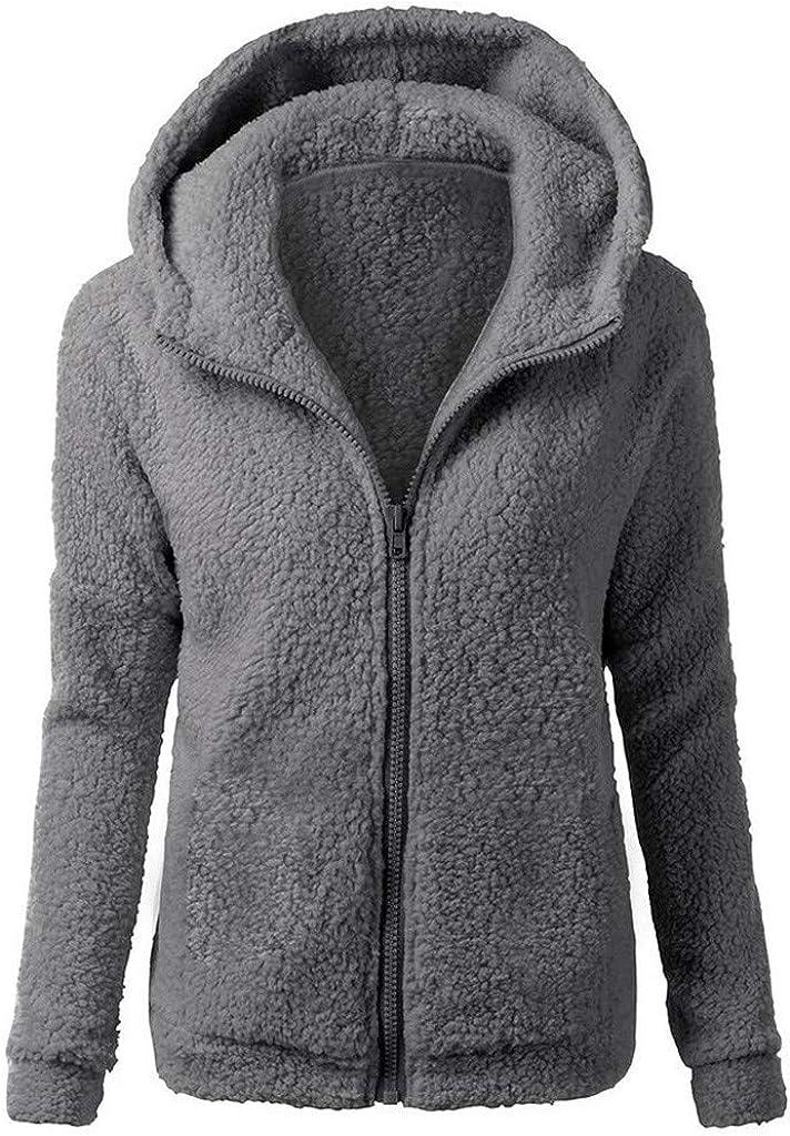 sheart 9 Womens Winter Warm Hooded Sweater Coat Oversized Solid Wool Full Zipper Cotton Fuzzy Jacket Outwear with Pocket