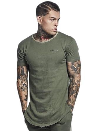 571d43cb12e Mens T Shirt Curved Hem Slim Fit Designer Short-Long Sleeve Tee Top Various  Styles