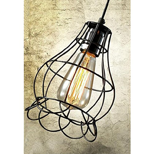 Sanguinesunny Pendant Light Ceiling Lamp Industrial Vintage Style Mini Hanging Lighting Lamp with Rose Wire Cage Guard 1-Light in Black Finish 40W 110V by Sanguinesunny (Image #4)