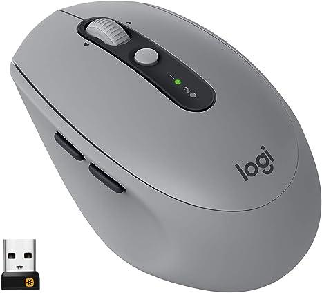 Logitech M590 Ratón Inalámbrico Silencioso, Multi-Dispositivos, 2,4 GHz o Bluetooth con Receptor USB Unifying, Seguimiento 1000 DPI, Batería 2 Años, PC/Mac/Portátil, Gris