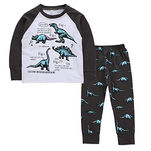 2-7T Toddler Boys Long Sleeve Dinosaur Sleepwear Pajamas Nightwear Set  (Color   Black 2b65dd462
