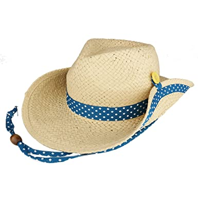 ae4511dc46d kid s roll up brim straw cowboy hat with dotted band - blue  Amazon.in   Clothing   Accessories