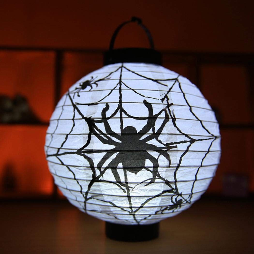 Youcoco Halloween Party Decoration Spider Bat Skeleton Hanging Paper Pumpkin Lantern