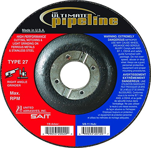UNITED Abrasives-Sait 20025 Ultimate Pipeline Cutting, Notching & Light Grinding Wheel On Stainless Steel with 5
