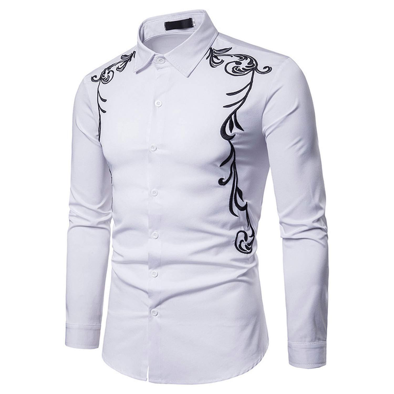 JIESENGTOO Fall Mens Shirt Embroidered Lapel Casual Slim Long Sleeve Shirt