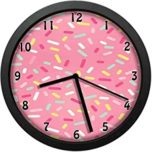 Abstract Pattern of Colorful Donut Sprinkles Sweet Tasty Food Bakery Theme Wall Clock Very Good Gift 12in with Frame, Choose Our Products is not Wrong (Laugh)