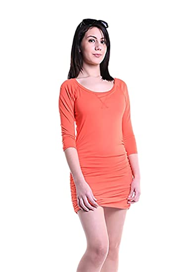 2bce8a7c1cab28 bobi 3/4 Sleeve Side Ruched Mini Dress in Tiger Lily at Amazon ...
