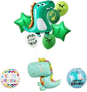 Dinosaur Balloons, Dinosaur Mylar Helium Balloon Party Supplies, Baby Shower, Home Office Decor, Birthday Backdrop (10Pcs)