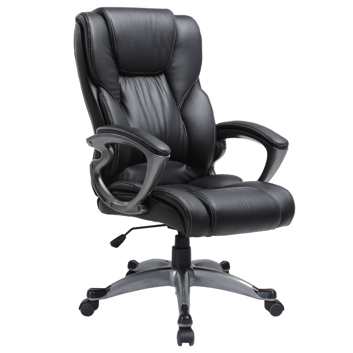 Ergonomic Executive Adjustable Swivel Task Chair High Back Home Office Desk PU Leather Chair with Headrest Black