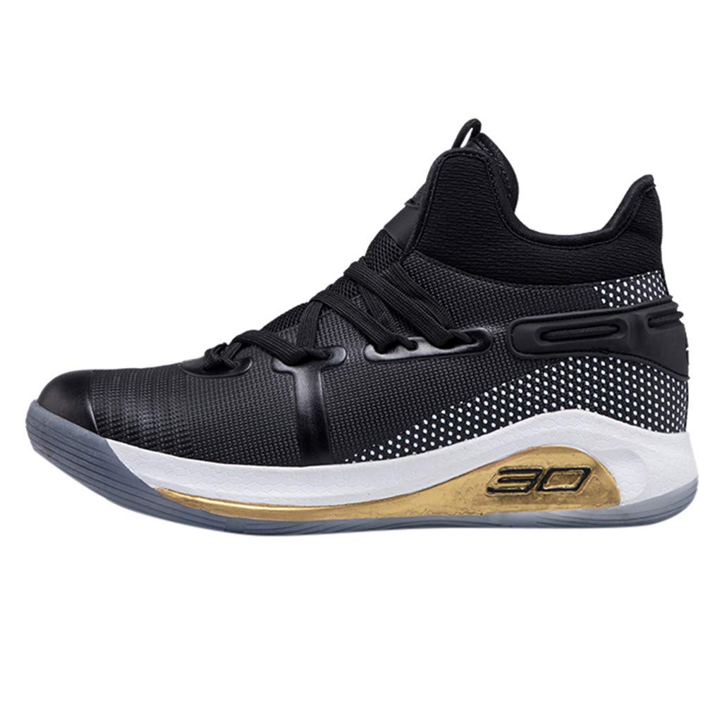 Dermanony Unisex Athletic Shoes Couple Fly Knit Breathable Comfortable Sneakers Fashion High-Top Basketball Shoes Black by Dermanony _Shoes