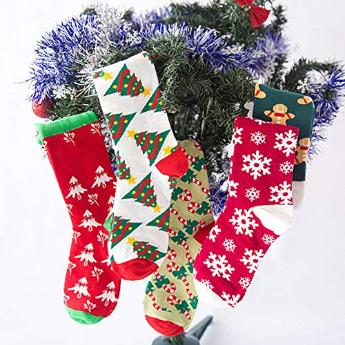 Christmas Long Socks,Women Cotton Xmas Tree Multi-Color Printed Leg Warmer Winter Warm Socks (Free Size, D) by Leewos (Image #2)