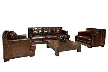 Emerson Top Grain Saddle Leather Furniture Set, 3 Piece