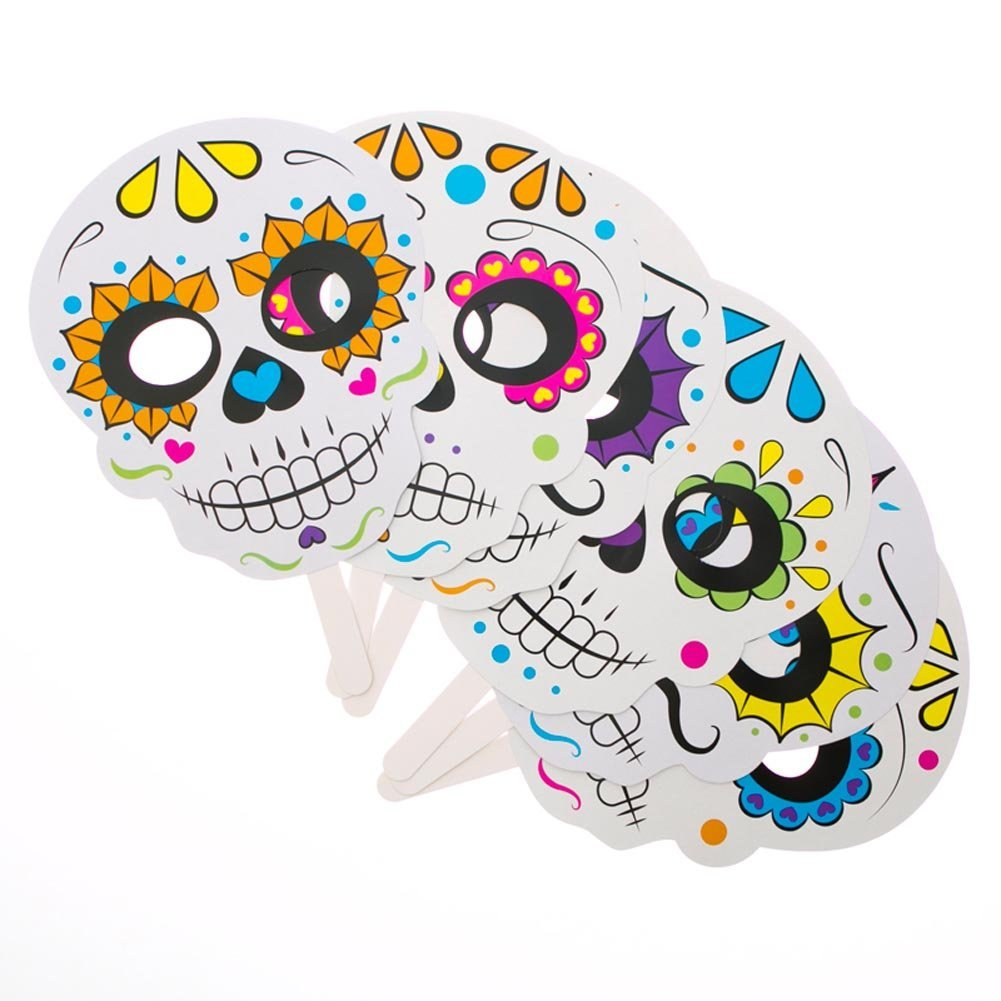 Amazon.com: Day of the Dead Handheld Masks: Toys & Games