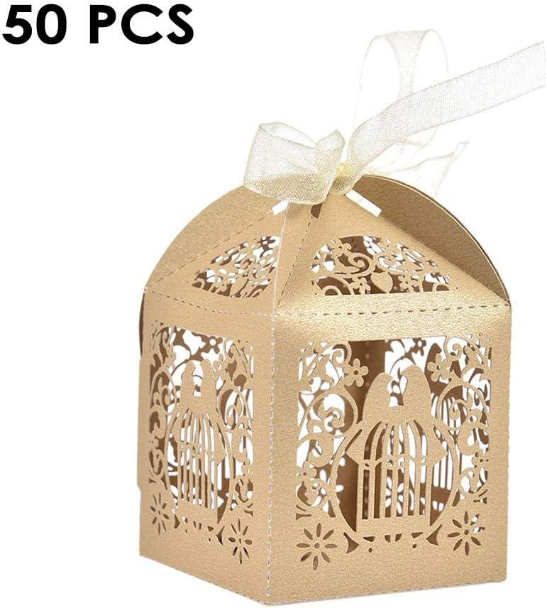 delibett - 50 Mini Maletas para Bodas, Cajas de Dulces, Dulces con Etiquetas de Papel de estraza y cordón para Bodas, decoración de Fiesta