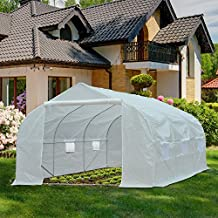 Outsunny 11.5'x10'x7' Portable Walk-In Greenhouse Garden Plant Growing House White