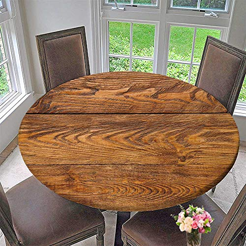 (Luxury Round Table Cloth for Home use Wood Plank Brown Texture Background Natural Wooden Timber Table for Buffet Table, Holiday Dinner 31.5