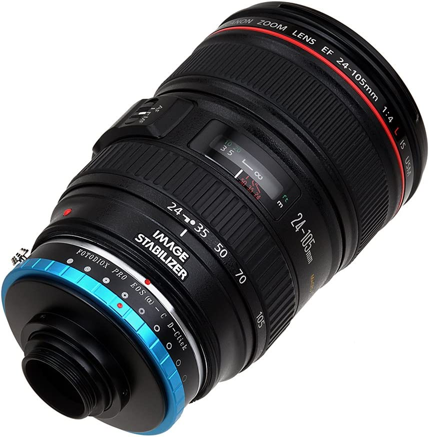 Fotodiox Pro Lens Mount Iris Adapter Compatible with Canon EOS EF Lenses to C-Mount Cameras