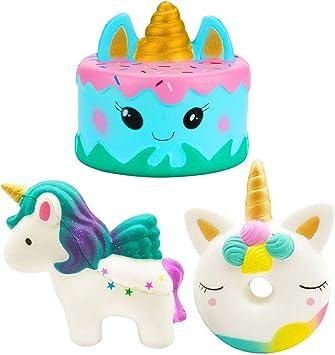 Buabi Pack 3 Squishy Grandes Unicornio + Tarta + Donut - Muñecos ...