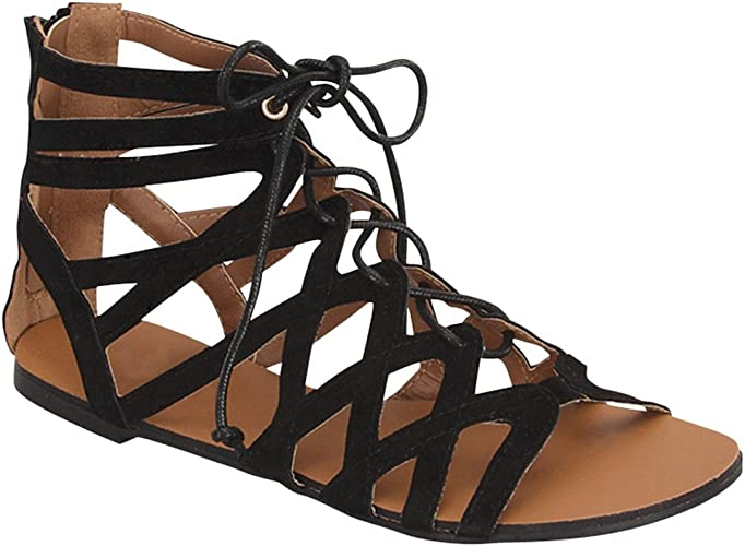 Ladies Leather Gladiator Rhinestones Sandal Lace Up Ankle Strap Women Shoes
