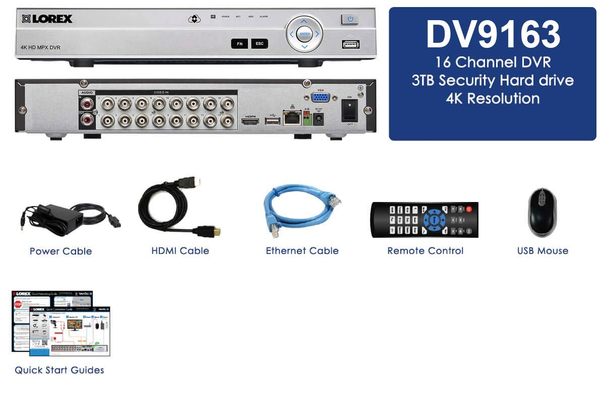 Lorex DV900 Series DV9163 16 Channel 4K MPX 3TB DVR with 16 BNC Ports by Lorex
