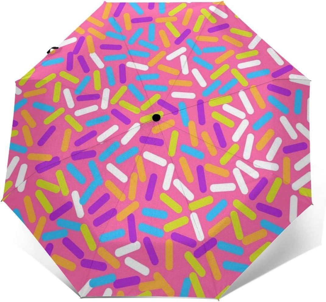 Donut Sweet Glaze Pattern Automatic Tri-fold Umbrella Folding Rain Umbrell Sunshade