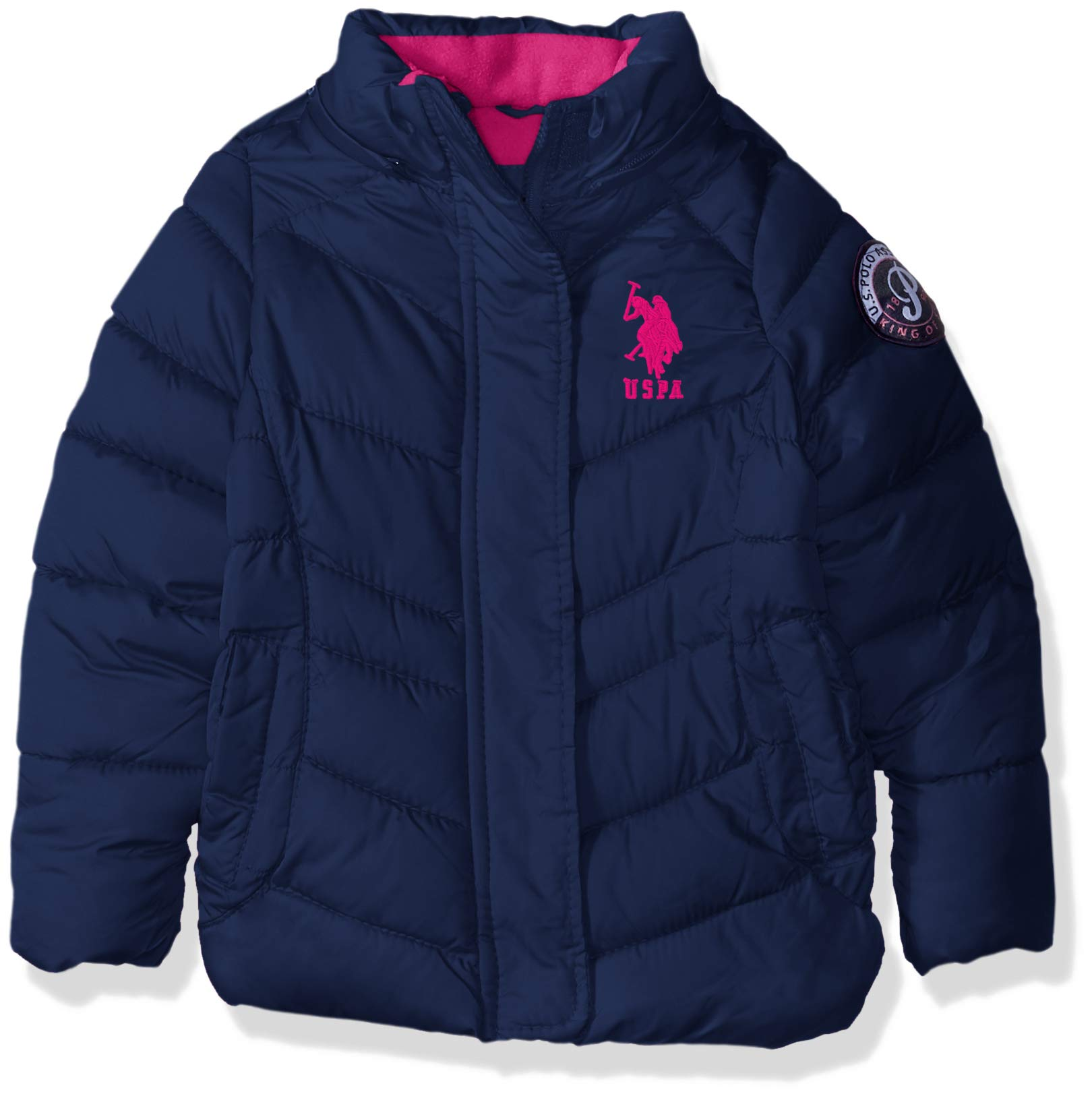 US Polo Association Girls' Little Hooded Bubble Jacket with Piping Detail, Navy, 6X by U.S. Polo Assn. (Image #3)
