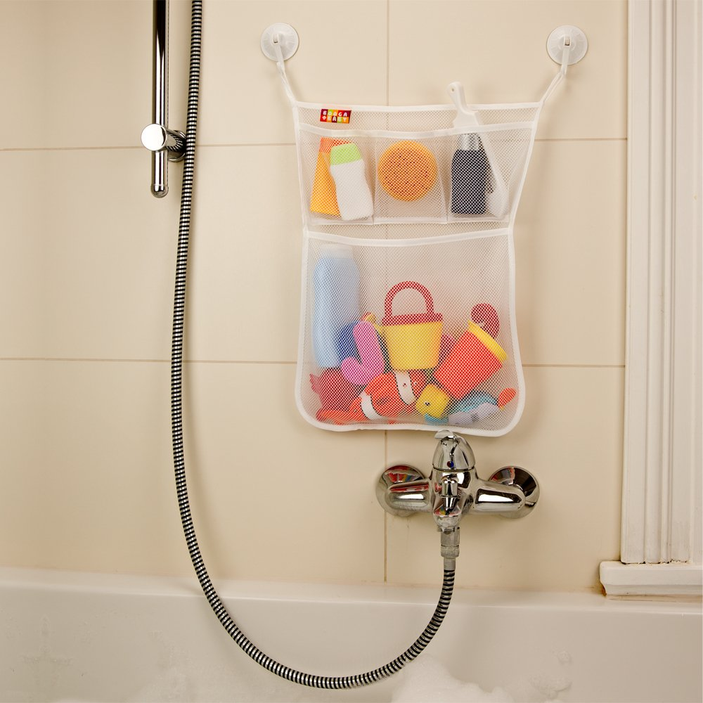 Organizador de Juguetes de Baño Booga Baby - Organizador de baño con más compartimentos, incluidas 4 ventosas para un óptimo agarre a la bañera y ducha: ...