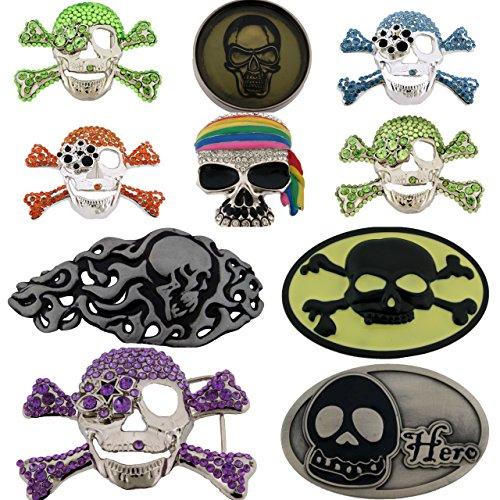 [Skull Belt Buckles 10 Pieces Wholesale Lot Rhinestones Bling Unisex Gothic Men] (Wholesale Lot 10 Piece)