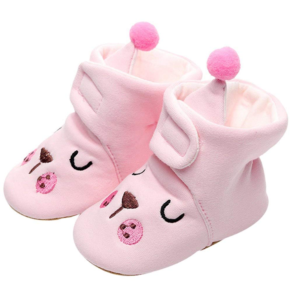 Newborn Baby Girls Soft Booties Infant Toddle Crib Shoes Autumn Spring Snow Sliper With Poms