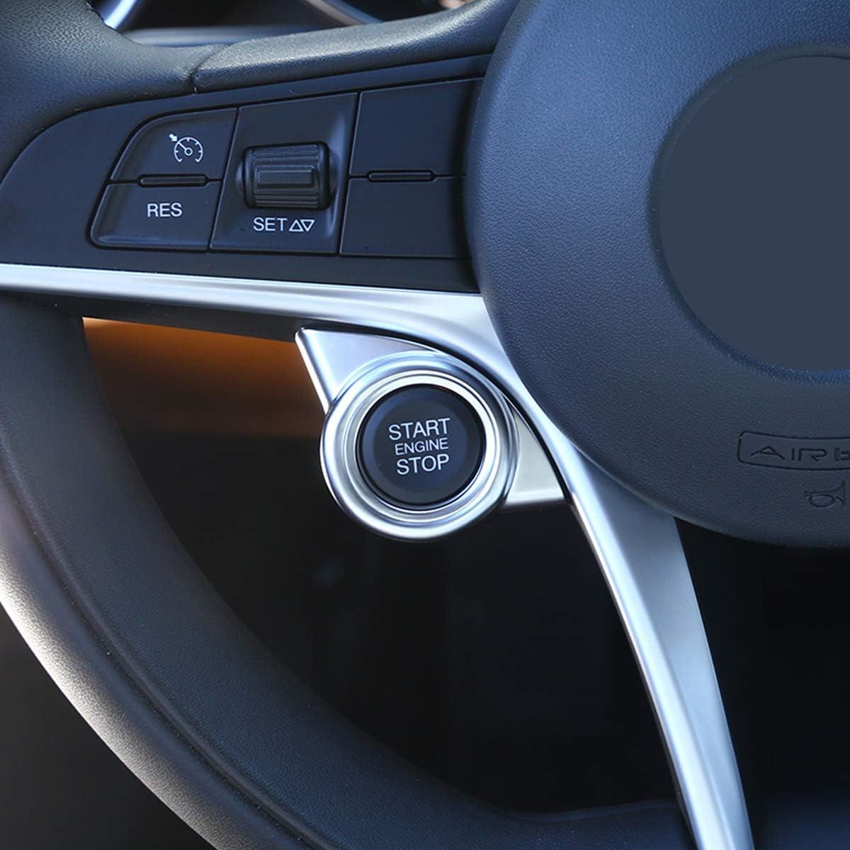 Cubierta para parada de motor de arranque de coche ABS, plateada, mate, para Giulia Stelvio 2017 2018 2019 DIYUCAR