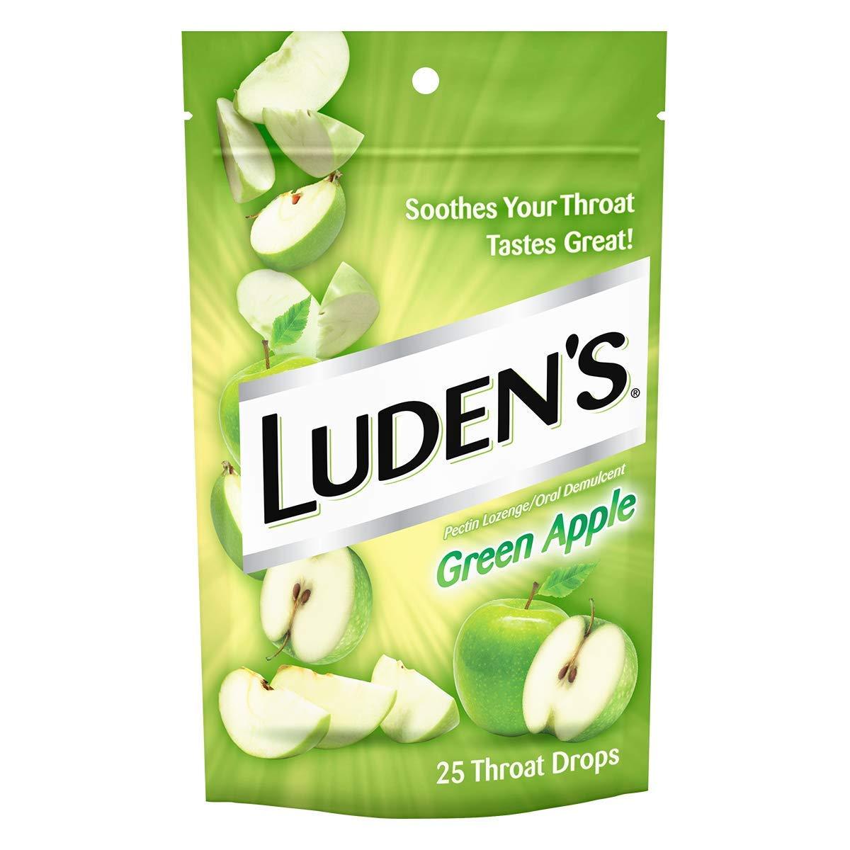 Luden's Green Apple Cough Throat Drops   Pectin Lozenge/Oral Demulcent   25-Drops per pack   4-Packs