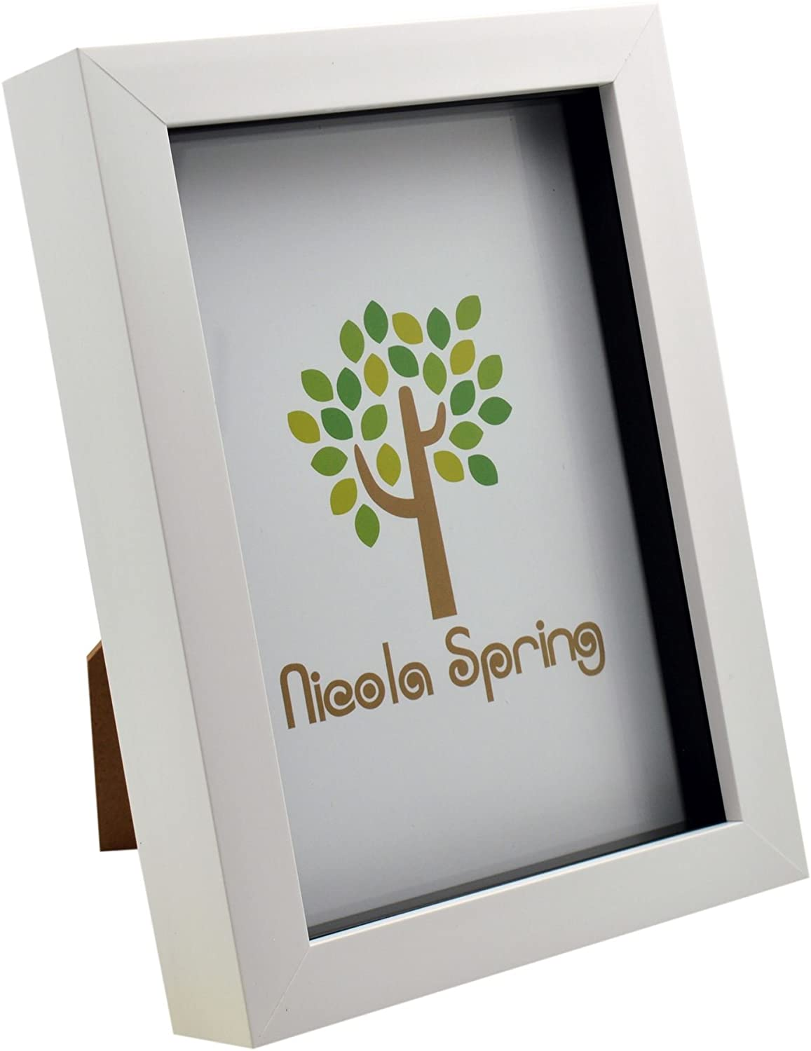 Nicola Spring White 5x7 Box Photo Frame - Standing & Hanging