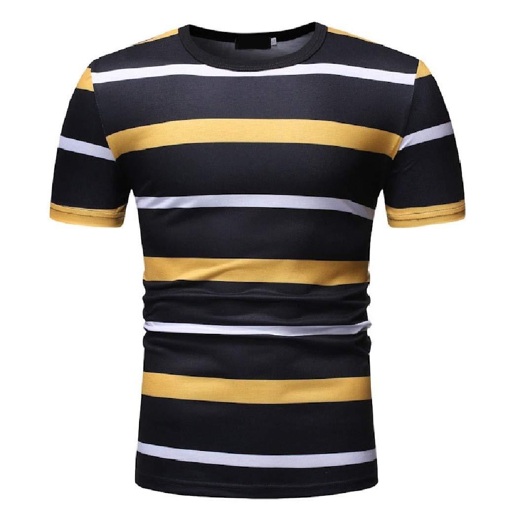 Mfasica Mens Crew Short Sleeve Summer Striped Causal Tees Top