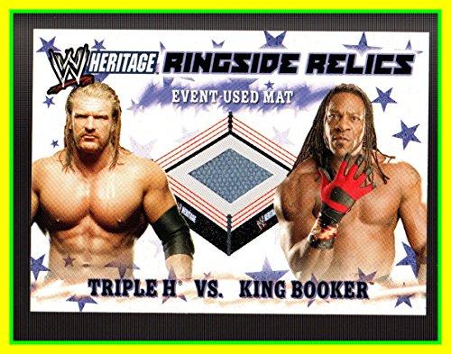 2007 Topps Heritage III WWE Ringside Relics #NNO Triple H vs. Booker T GAME USED WRESTLING MAT WWF Summer Slam (Wwe Ringside Relics)