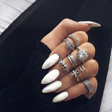 Ubright 24 uñas postizas artificiales, diseño de uñas ...