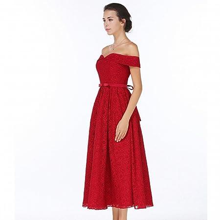 DRESS la Primera Mitad de la Novia Vestido de Novia de Oto?o Y el Vestido de Novia de Invierno Es el Vestido Rojo Fino Vestido de Noche Grandes Mujeres,UN ...
