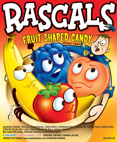 RASCALS Fruit Candy (5 pound bag) by FIRST CLASS VENDING