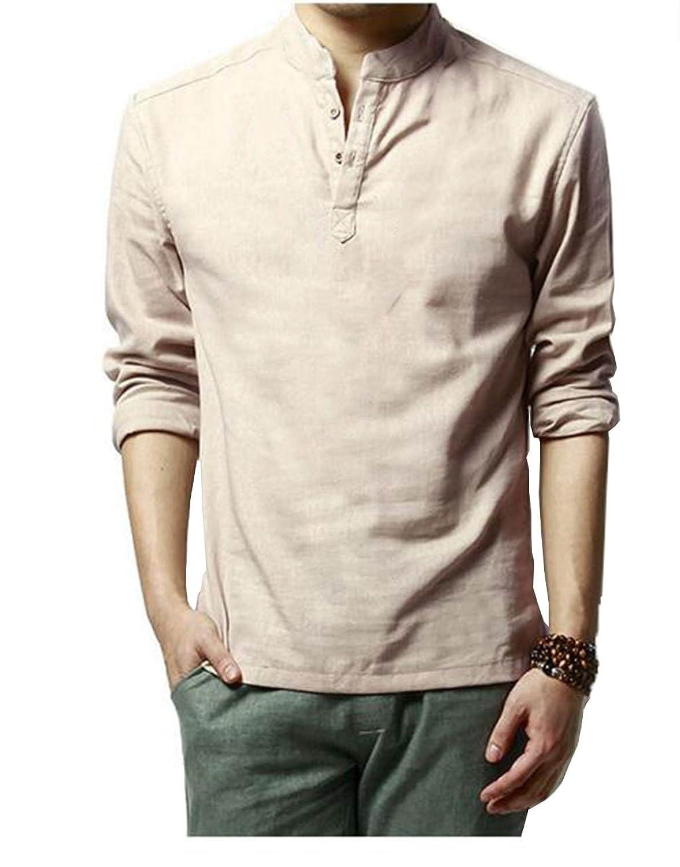 HOEREV Marke Men Casual Langarm-Leinen Shirts Strand-Hemden: Amazon.de:  Bekleidung