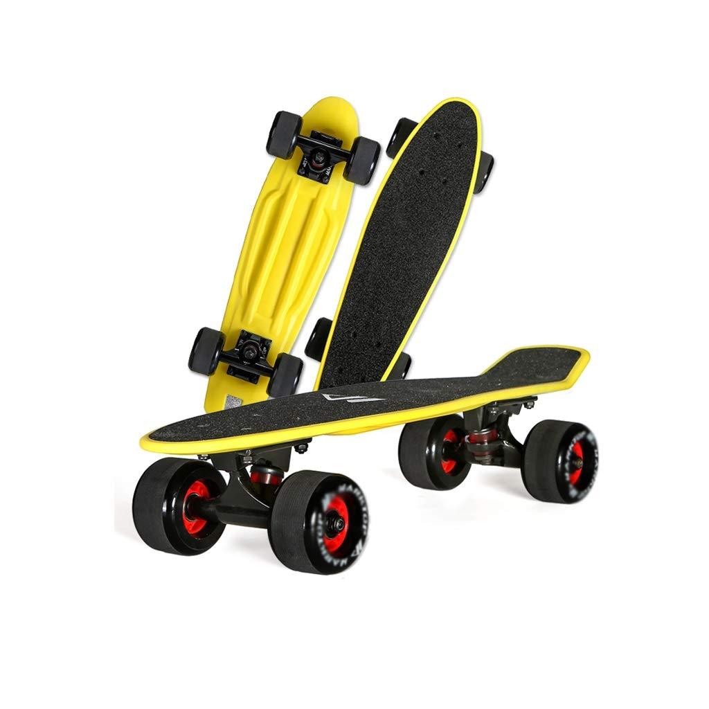 HXGL-Skateboards Children's Four-Wheeler Skateboard Fish Plate Banana Board Adult Boys and Girls Youth Brush Street Single-Warping Road Beginner (Color : Black)