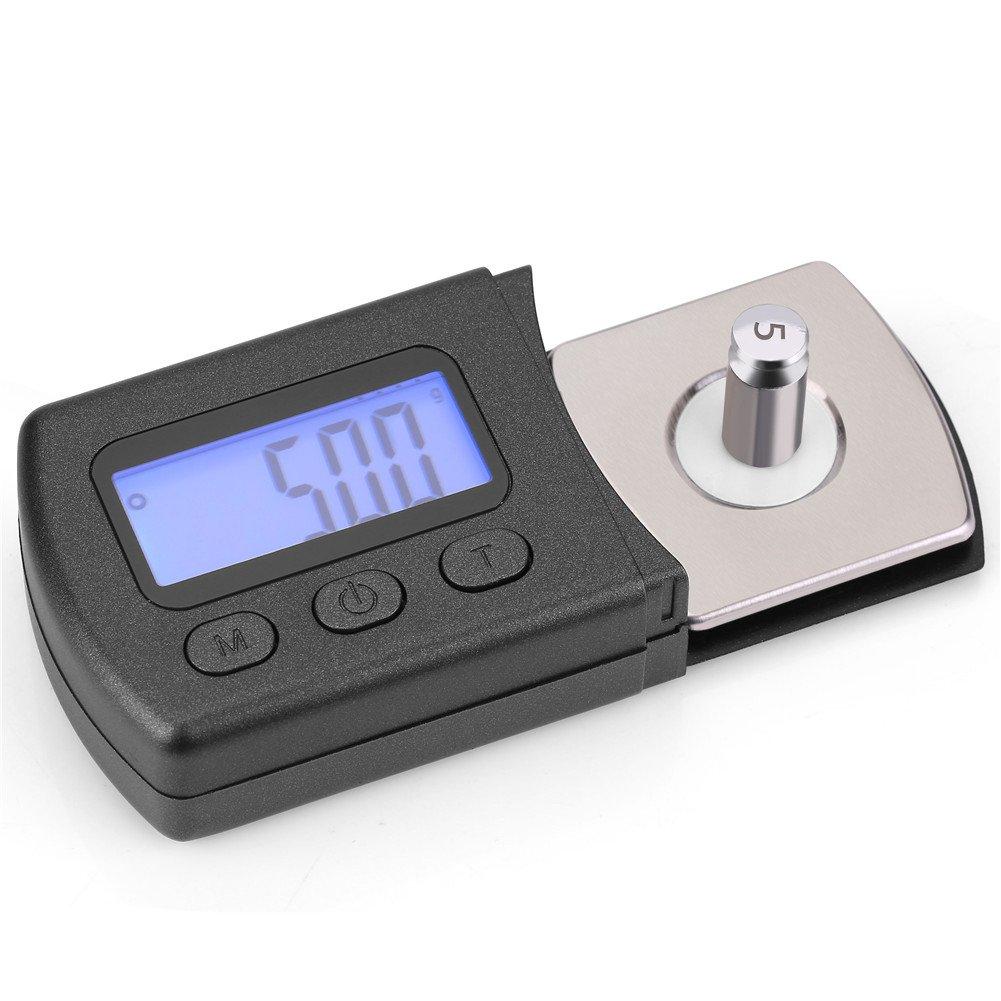 Calibrador de presi/ón de l/ápiz Digital luz de Fondo de LCD Azul con 5 g de Peso de calibraci/ón l/ápiz Giratorio Stylus Tracking Force Scale 0.01g