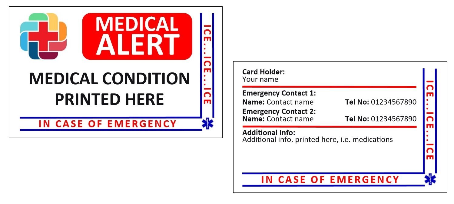 Identity-Plus Medical Alert ICE (In Case of Emergency) Card - Fully Customised